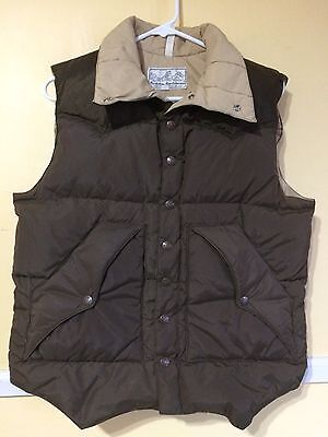 vtg Powderhorn Mountaineering Western Yoke DOWN VEST puffer puffy Brown Medium M