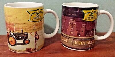 JOHN DEERE Set of 2 Collectible Coffee Mugs EUC