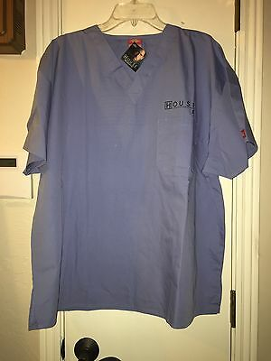Scrub Top Size Xl Er House By Dickies Cotton/poly Blue Color