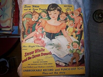 Snow White & the Seven Dwarfs- Unbreakable Record and Punch-Out Toys Story 1949