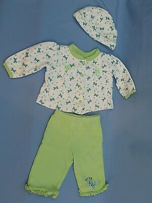 Nursery Rhyme Baby Girl 3 Piece Outfit pants shirt hat  3-6 Months