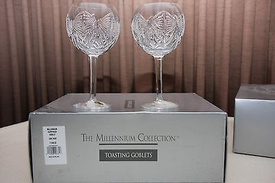 """Waterford Crystal - Millennium Collection - """"Happiness"""" Goblets (Signed)"""