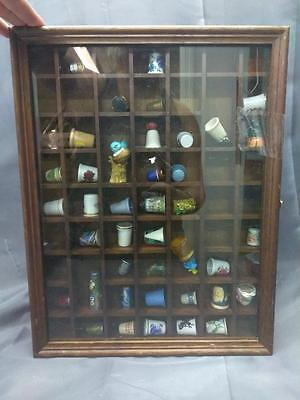Old Vintage Collection of Sewing Thimble in Wooden Display Case 40 Thimbles Sew