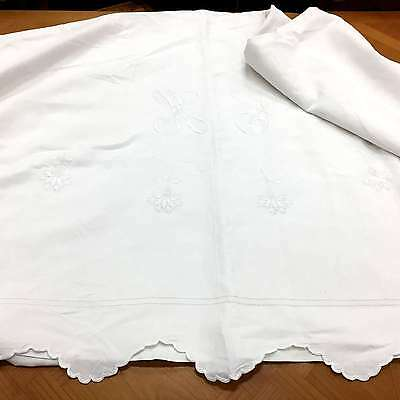 Bed Sheet - Vintage French Linen - Large Monogrammed CH - i192a