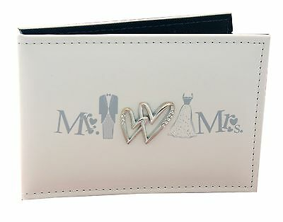 Mr & Mrs White Slip in Photo Album Brag Book wedding gift present