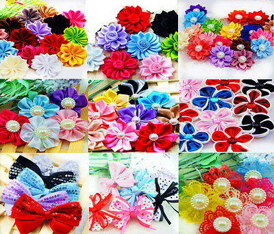 Hand made Design dog hair bows clips/rubber bands pet grooming hair bows
