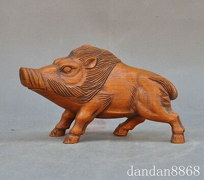 old china chinese boxwood wood pure hand carved Wild boar pig statue sculpture A