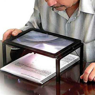 LED Magnifying Spec Glasses Hands Free Magnifier 3X Rectangular Magnification