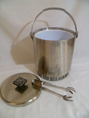 1970's Vintage Wiltshire Burgundy Stainless Steel Ice Bucket Insulated + Tongs