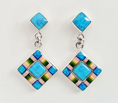 Exquisite Lovely Opal Spiny Turquoise Lapiz Inlay .925 Silver Dangle Earrings