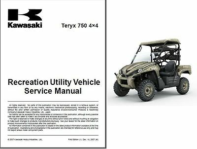 2008-2009 Kawasaki Teryx 750 4X4 ( KRF750 ) UTV Service Manual on a CD