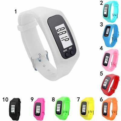 LCD Digital Watch Pedometer Sports Bracelet Jogging Step Counter Calorie Tracker