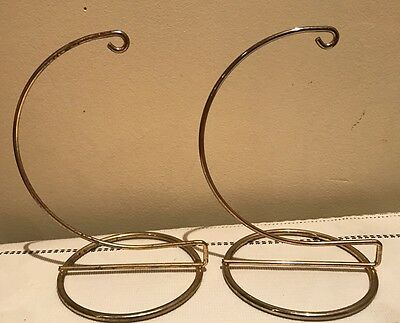 Lot Of 2 Vintage Gold Metal Wire Ornament Display Stand
