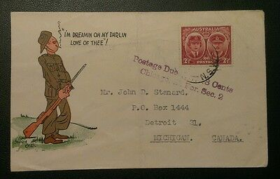 WW2 DIGGER ART 1945 COVER RED CROSS 1d LABEL