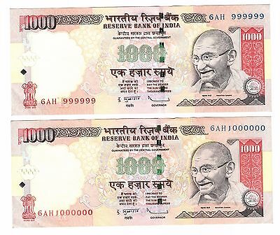 1000 Rupees India Fancy Numbers 999999 & 1000000 (Millionth) Set of 2 Notes