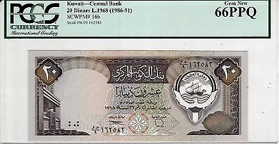 Kuwait 20 dinars ND (1986-91) 3rd. issue CENTRAL BANK PICK#16b UNC 66 PPQ
