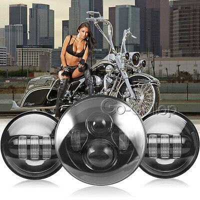 """7"""" LED Projector Daymaker Headlight + Passing Lights Fit Harley Touring Black"""