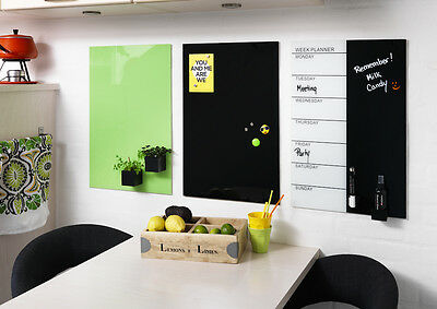 40cm x 60cm Magnetic Glass Board Black and White Planner