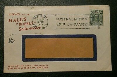 1950 AUST ADVERTISING COVER HALL'S BUBBLY SODA WATER 1 1/2d