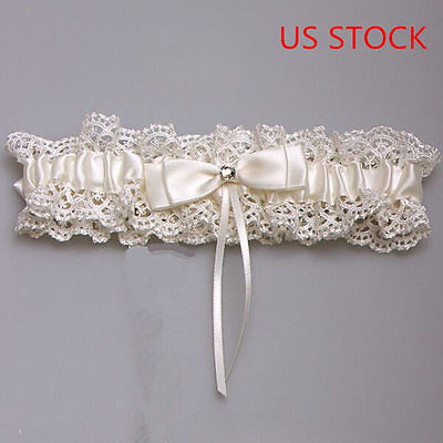 US STOCK New Ivory Wedding Bridal Garter Lace Stain Floral Elastic Keepsake