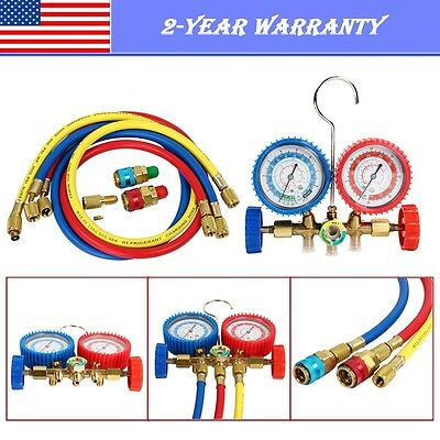 1PC R134A R12 R22 R502 HVAC A/C Refrigeration Charging Manifold Gauge Set 3FT