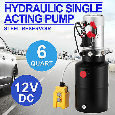 6 Quart Hydraulic Single Acting Pump 12V DC Hydraulic Power Unit Dump Trailer