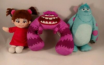 Disney Pixar Monsters University/Inc Sully, Boo and Art Lot of 3 Plush Toy