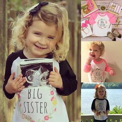 Big Sister Toddler Kids Baby Girls Long Seelves Clothes Cotton T-shirt Tops