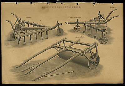 Antique print LESTER'S CULTIVATOR - SCUFFLER - HEAVY ROLLER  engraving