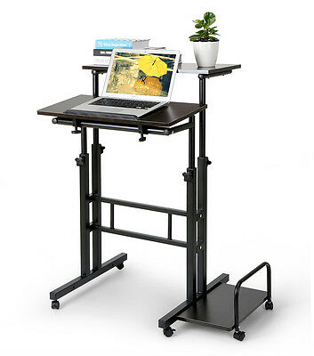 2Tier Rolling Adjustable Multi-function Modern Laptop Computer Desk Stand Table