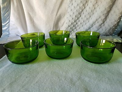 Vintage Beautiful Green Glass X6 Bowls.  Solid, Tempered Glass.  So Many Uses!