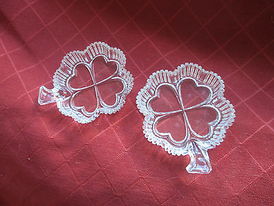 2 vintage  lucky 4 leaf clover glass dishes
