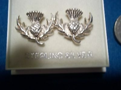 New Scotland Thistle Earrings in Box sterling silver thistle earrings