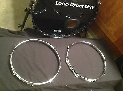 """8-hole REMO Snare Drum Hoops set TOP BOTTOM 14"""" THICK - MAGNET STICKS!!"""