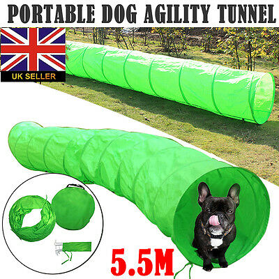 5.5M Dog Agility Equipment Tunnel For Training Obedience With Free Bag Green