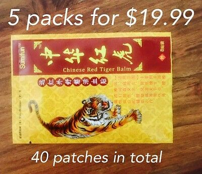 5 Packs Chinese Red Tiger Balm Plaster Patch, 10cmx7cm. 5packs = 40 Patches
