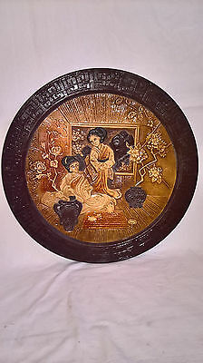 Large Circular Bretby Wall Plaque With Oriental Scene