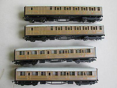 Hornby LNER OO Flying Scotsman teak carriages/coaches x4 for model train set HO