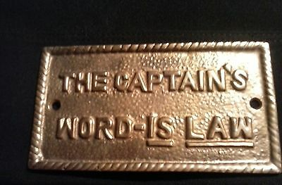 """Nautical Brass """"THE CAPTAIN'S WORD IS LAW"""" Plaque or Sign Home Decorative Plaque"""