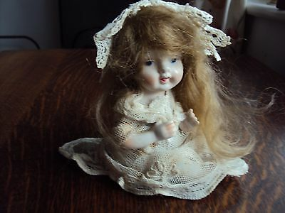 Vintage German? Bisque/porcelain Piano Doll With Hair.