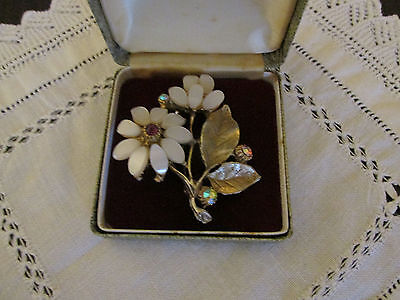 Large Vintage Gold Metal Brooch With Lucite Flowers & A,b. Stones