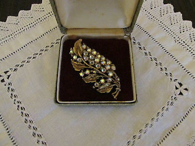 Vintage Gold Metal Brooch Decorated With A.b. Diamante Stones.