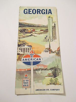 VINTAGE 1962 AMERICAN OIL GEORGIA Gas Service Station Road Map