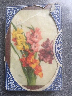 vintage FLOWERS playing cards by Waddington - tax SEALED