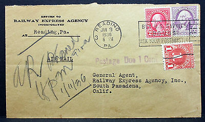 Railway Express Agency Airmail Cover Reading 1936 Stamp Due 1c USA Brief L-2821