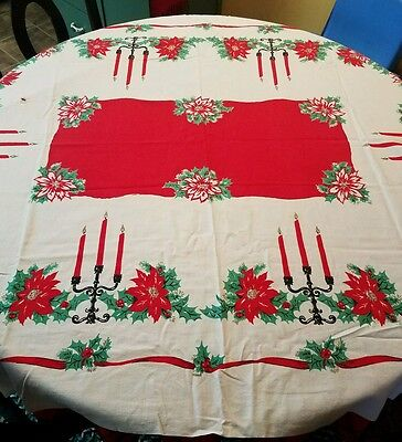 Vintage Christmas Tablecloth Pointsettias Candles Holly Berries Mid Century Old