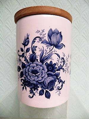 Portmeirion Blue & White Floral Pattern Lidded Storage Jar. 4.5 Inches Tall