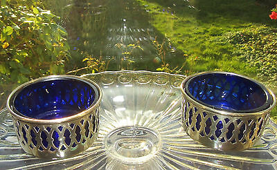 Vintage Antique Silver Plated Salts Bowls with Blue Liners EPNS BSC
