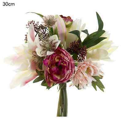 New Artificial Fake Silk Flower Peony Anemone Skimmia Bouquet Pink Red