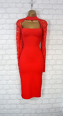 ~AMYA~ Red Lace Bodycon Evening Midi Pencil Wiggle Party Dress 8 10 12 14 16 18